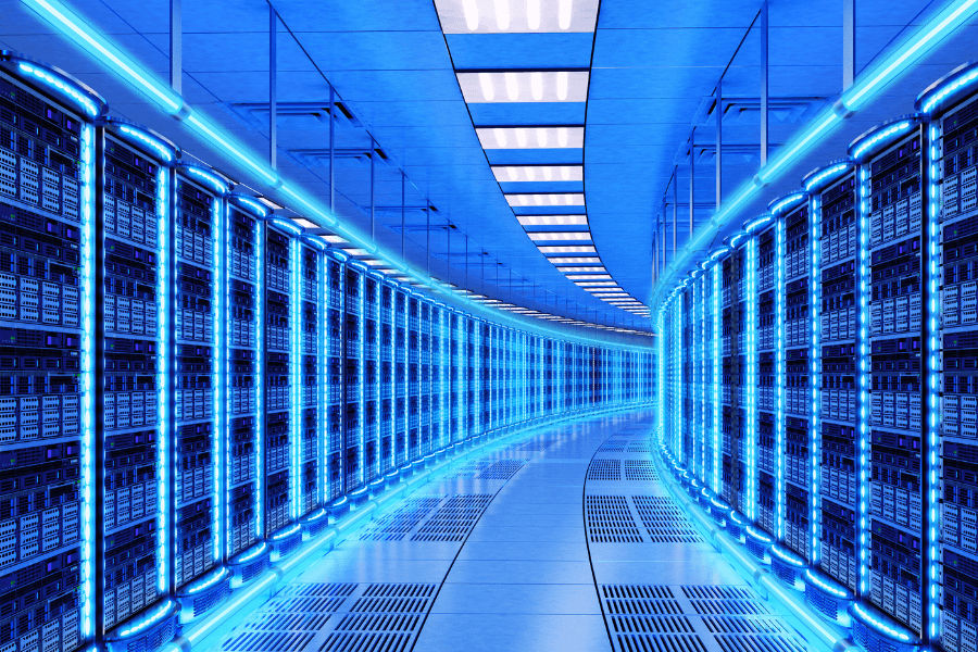 Data Center with Blue Lights